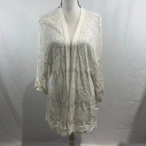 Style & Co White Open Front Knit Cardigan NWT